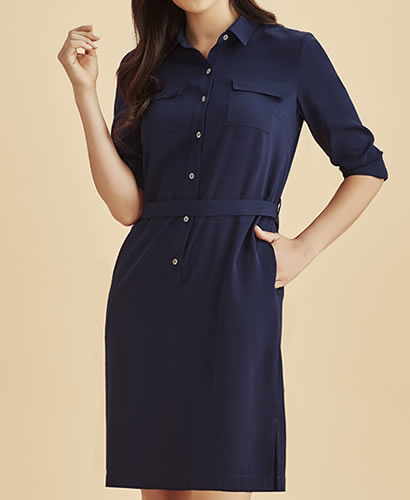 Chloe Shirt Dress - Navy