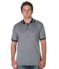 Adults Checker Trim Polo Pewter