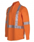 Hi Vis L/S (D+N) 150g Cross Back Tape Shirt