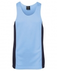 Adults Poly Contrast Singlet White/Navy