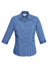 Ladies Zurich 3/4 Sleeve Shirt French Blue/White
