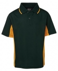 Kids Contrast Poly Polo Forest/Gold