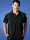 Mens Endeavour Polo Black/Fluro Green