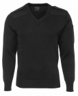 Mens Knitted Epaulette Jumper Black