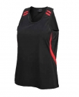 Kids Flash Contrast Singlet Black/Red