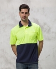 Mens HiVis Standout Polo Lime/Navy