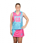 Netball Sublimated V-Neck Top with Collar